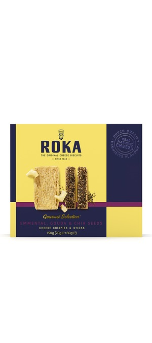 foto ROKA Gourmet Selection Cheese Crispies Emmental and Cheese Sticks Gouda Cheese with Chia Seeds 150g