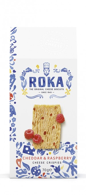 foto ROKA Cheese Crispies Cheddar Cheese with Raspberry Delft Blue 70g